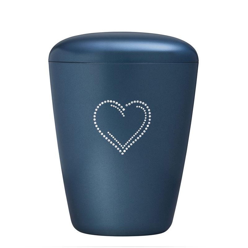 blå urne med swarowski hjerte bisættelse