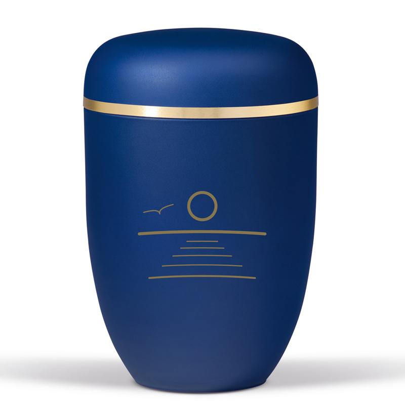 blå urne til bisættelse