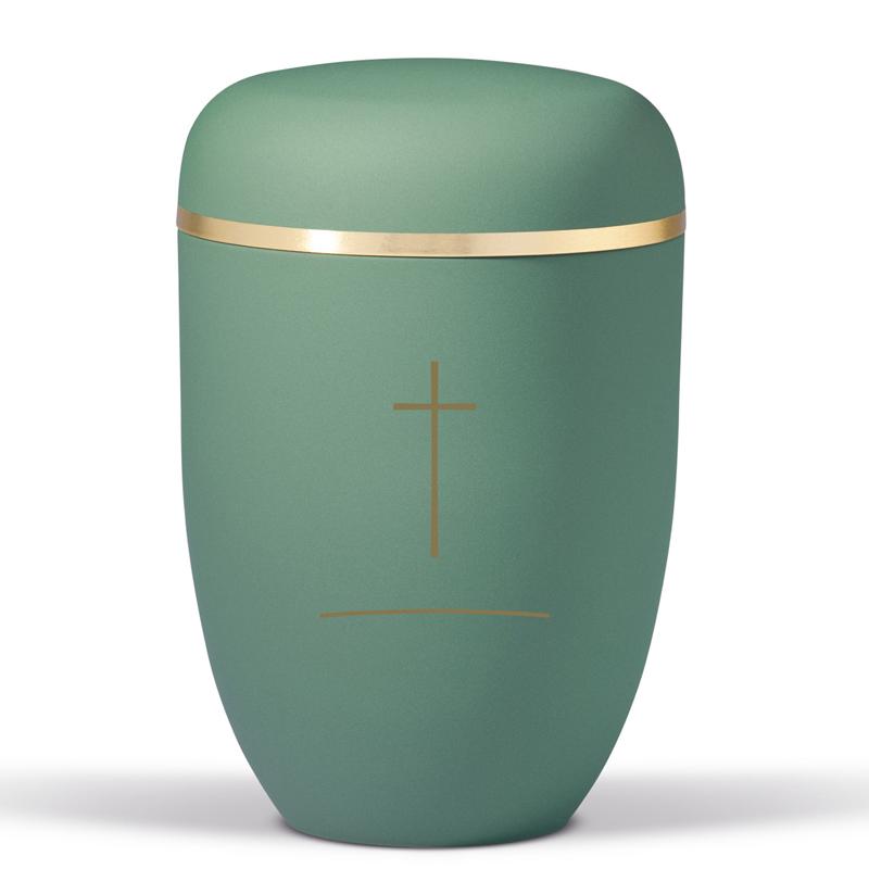 grøn urne med kors, bisættelse