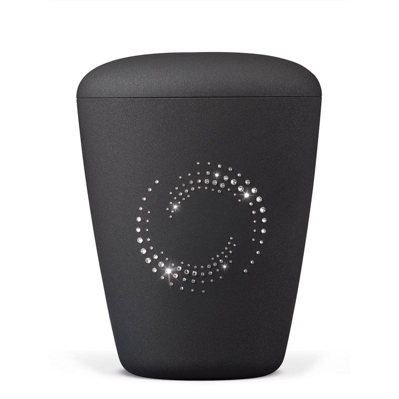 sort urne med swarowski hjerte bisættelse