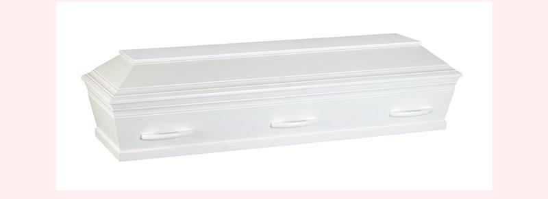 hvid kiste til begravelse og bisættelse