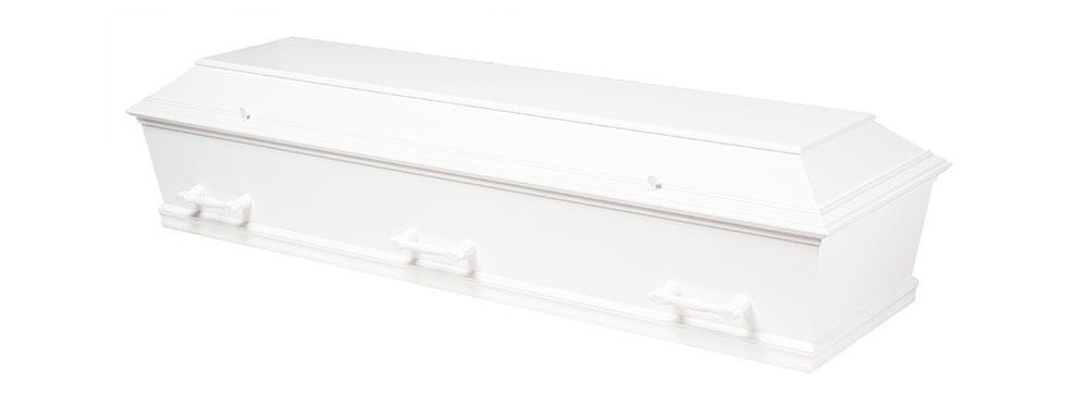 Hvid kiste til bisættelse